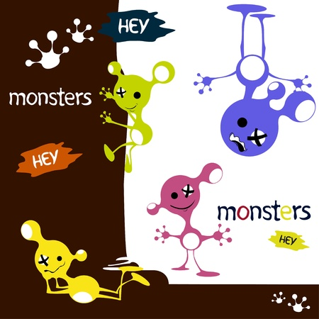monsters cute funny aliens characters  Vector