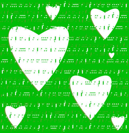 hearts valentine music green color background vector Vector