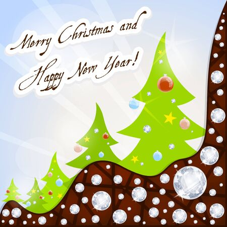 beautiful new year trees snowflakes background  Vector