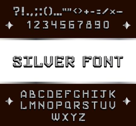 silver metal alphabet font Stock Vector - 21042422
