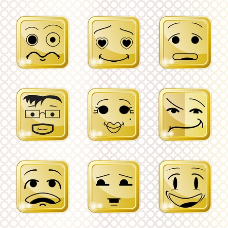 cute funny set of icons or buttons with people faces emotions Illustration