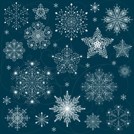 snowflake background: snowflakes set background vector