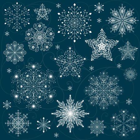 snowflakes set background vector