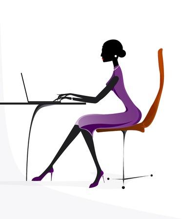 ビジネス女の子女性ラップトップ ノートブック ベクトル