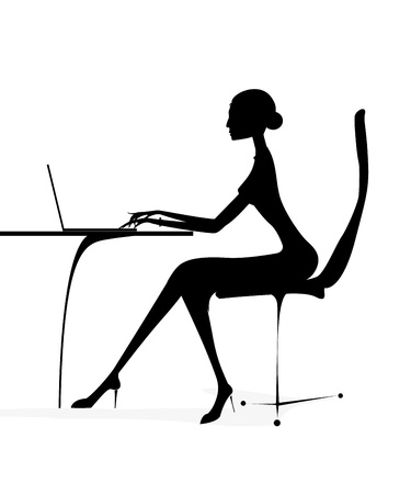 woman laptop: silhouette business girl woman laptop notebook vector
