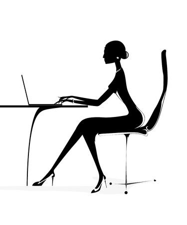 business girl woman laptop notebook vector Vector