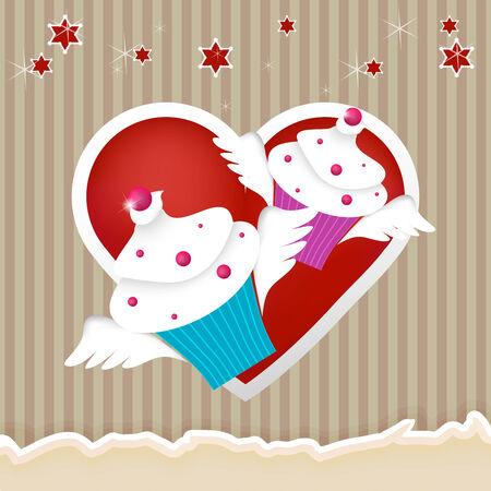 beautiful cupcakes fliyin in love Vector