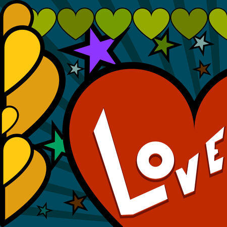 retro Valentine day poster with many hearts Vector
