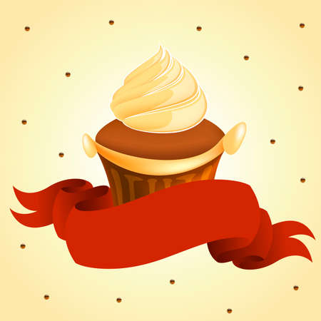 nutty: tasty yummy cup cake with red banner retro art