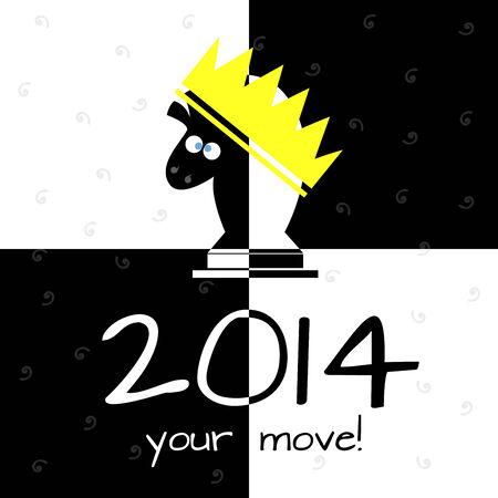 cute horse chess board 2014 Vector