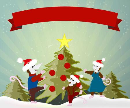 family celebration: happy family celebration Christmas New Year tree dancing