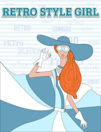 retro style girl 01 Vector