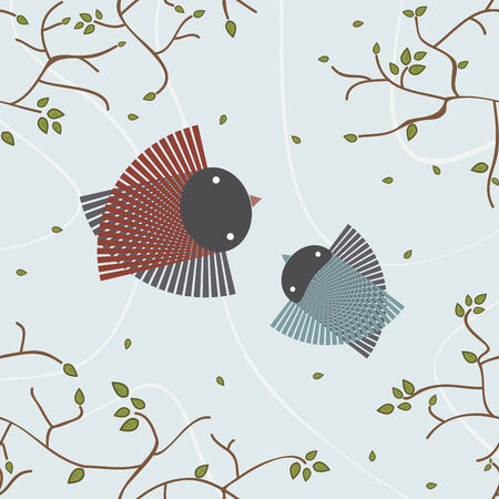 spring lovely birds flying in the sky Vector