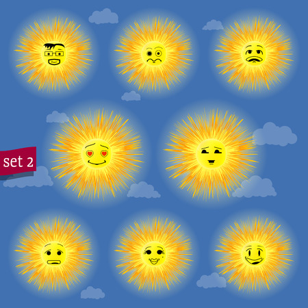 sunny faces emoticon character set 02 Vector