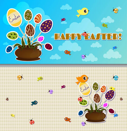Happy Easter eggs background banner poster placard Vector