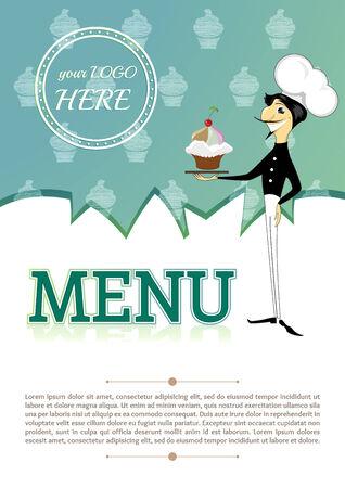 alimentos y bebidas: 1089; cubierta carta de bebidas alimentarias plantilla hef humana verde turquesa 01