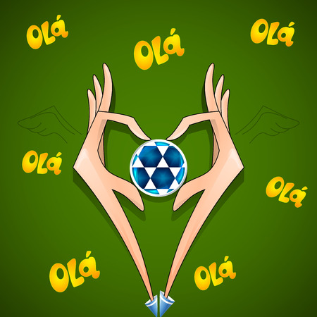 football creative background hands ball soccer field Vector