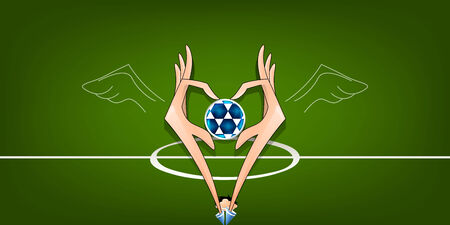 funy: football creative background hands ball soccer field