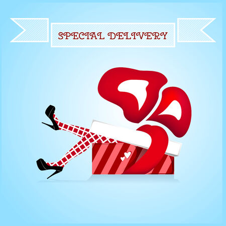 special delivery gift present girl in box Vector