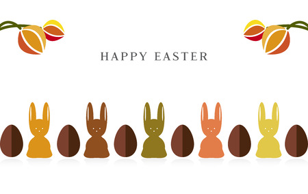Happy Easter Bunny tulips and eggs greeting card Vector