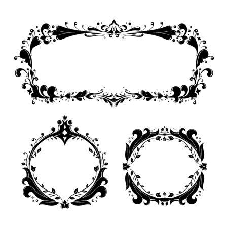 vintage ornate floral frames set Vector