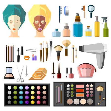 beauty treatment: beauty salon fashion set Illustration