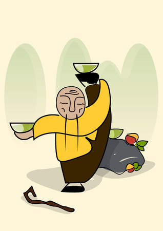 chinese old man kung fu with tea cups Stock Vector - 27769878