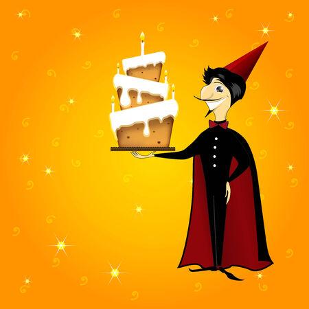 hocus: wizard magician man with birthday cake cartoon