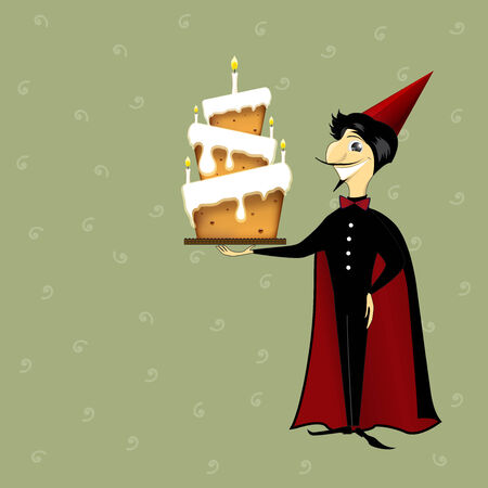 performing arts event: wizard magician man with birthday cake cartoon