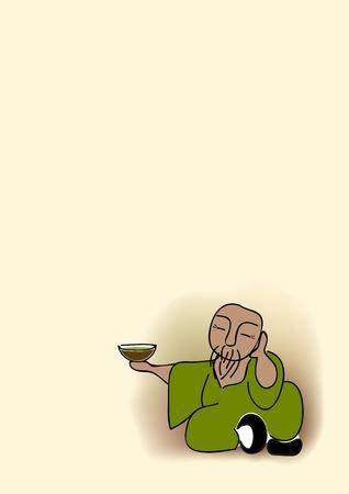 chinese tea cup: viejo hombre chino sentado con una taza de t� verde
