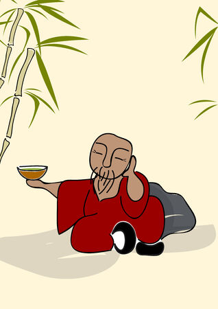 vieil homme assis: chinois vieil homme assis avec une tasse de th� vert Illustration