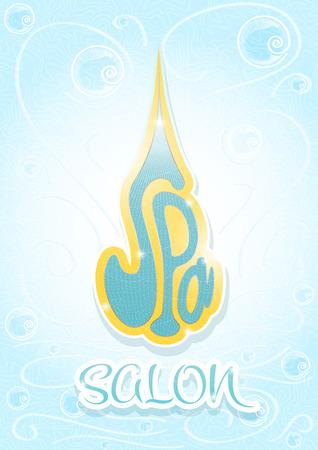 ceremonial makeup: Spa salon cover blue color vertical portrait template page Illustration