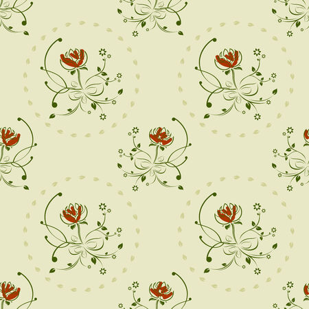 textile: seamless green and red floral vintage pattern  Illustration