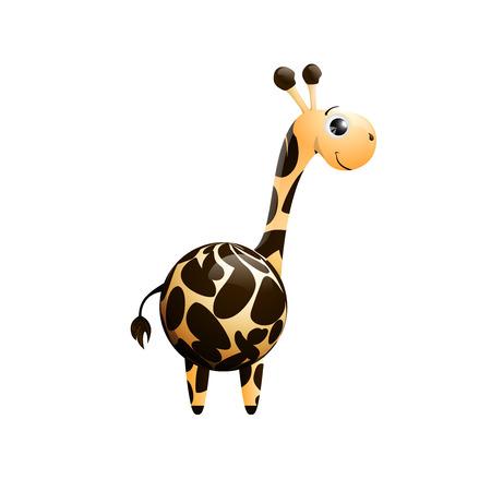 jirafa cute: car�cter lindo de la jirafa aislados