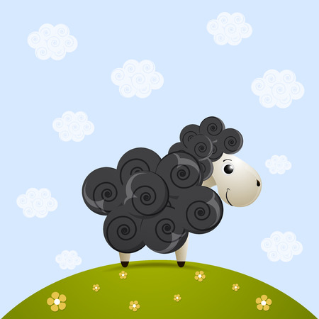 baa: cute black sheep character