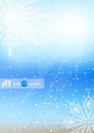 winter sky snow and snowflakes portrait, vertical background  Vector