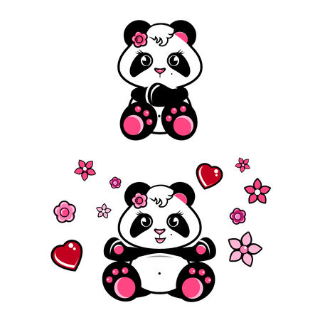 cute baby panda girl with hearts and flowers isolated