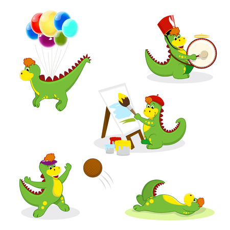 cute green little dragons mascots activities  Vector