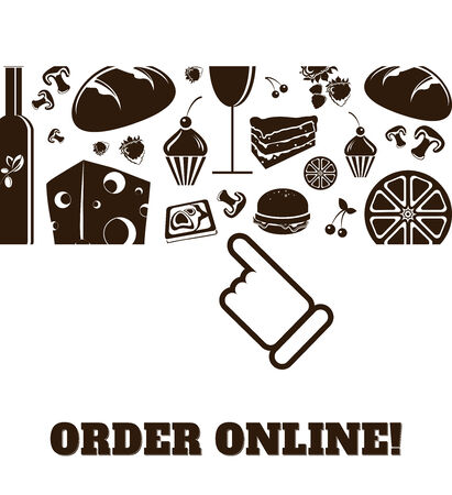 horizontal: online order food and drinks icons horizontal vector Illustration