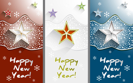 New year greeting cards with stars and snowflakes set vertical new year greeting cards with stars and snowflakes set vertical stock vector 31398981 m4hsunfo