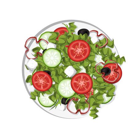 分離されたギリシャ サラダ  イラスト・ベクター素材