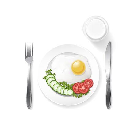 onions: breakfast fried egg with onions and pomodoros and glass of milk isolated  Illustration