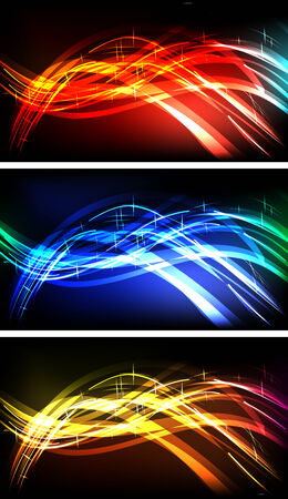 emitting: Abstract lights horizontal backgrounds set