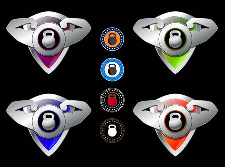 the protector: Athlete sportsman fitness protector with shield and weight signs set