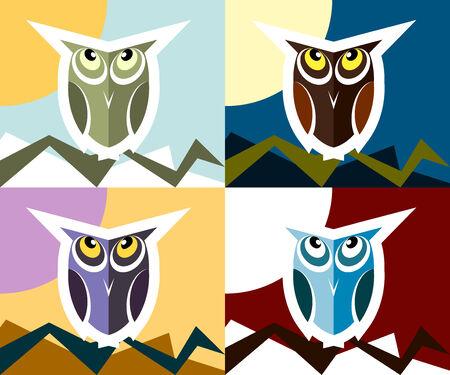 Owl mascot or character flat design set Vector