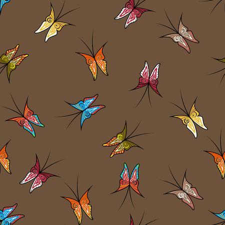 fond brun: Papillons peints � la main seamless fond brun