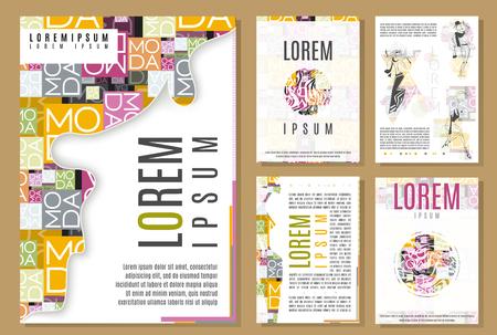 チラシ パンフレットの表紙のデザインのテンプレートをセットします。美しさとファッションのモダンな背景。モバイル技術のアプリケーションと