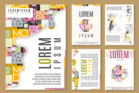 fashion vector: set of flyer brochure  cover design templates. beauty and fashion modern backgrounds. mobile technologies applications and online services infographic concept.