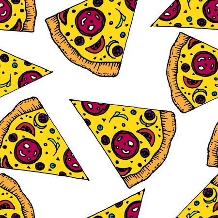 tasty: Tasty Pizza doodle seamless pattern vector