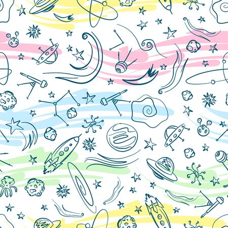 asteroid: universe stars comet spaceship asteroid planet seamless pattern background red blue yellow pink vector Illustration